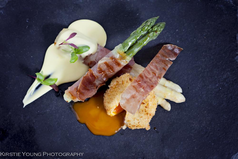Roasted Asparagus & Parma Ham w deep fried Hens Egg & Hollandais